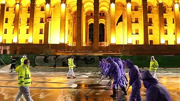 Georgia disinfects capital's streets to combat spread of COVID-19