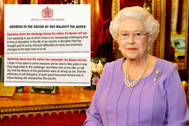 The Queen will use stirring TV address to tell Brits their courage during coronavirus fight will be remembered