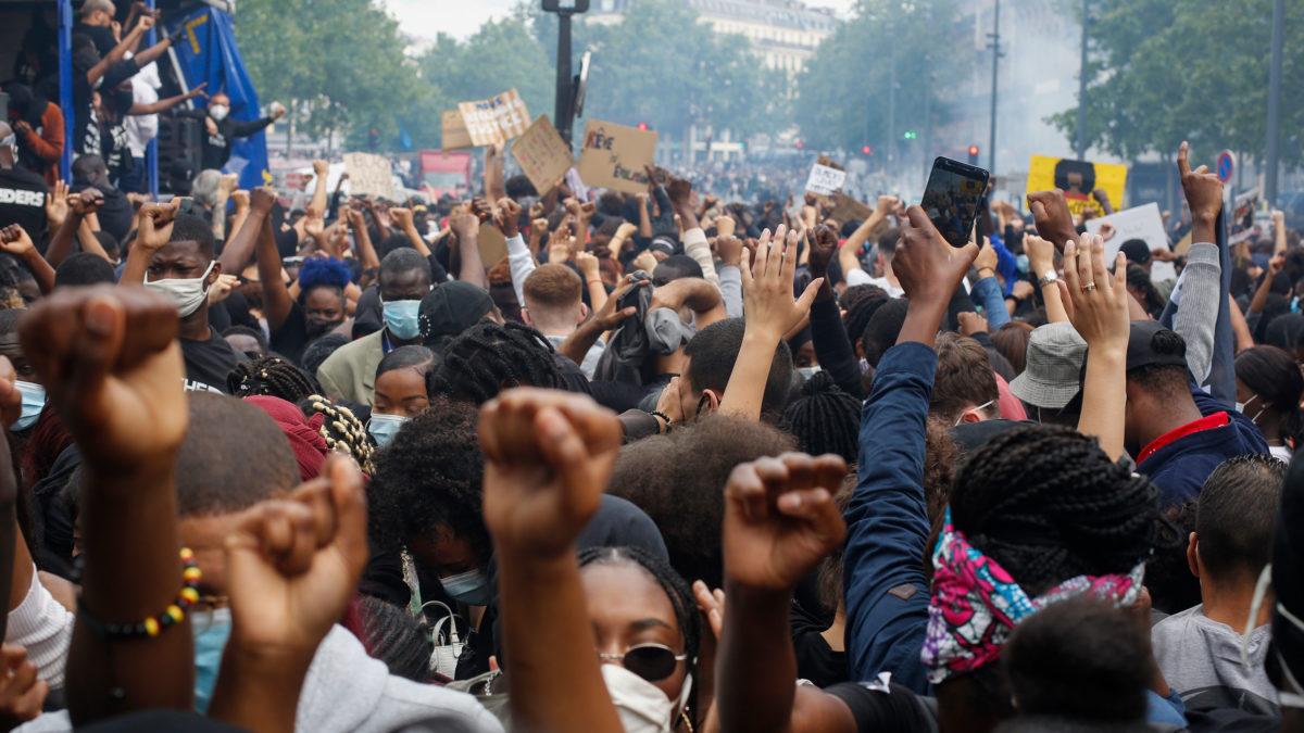 The scene in Paris as thousands gather to protest against police brutality and racism